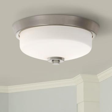 "Quoizel Radius 13"" Wide Brushed Nickel Ceiling Light"
