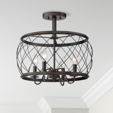 "Quoizel Dury 17 1/2""W Palladian Bronze 4-Light Ceiling Light"