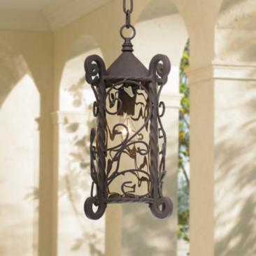 "Casa Seville 15"" High Walnut Scroll Outdoor Hanging Light"