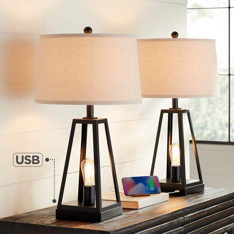 Kacey Metal LED Night Light USB Table Lamps Set of 2