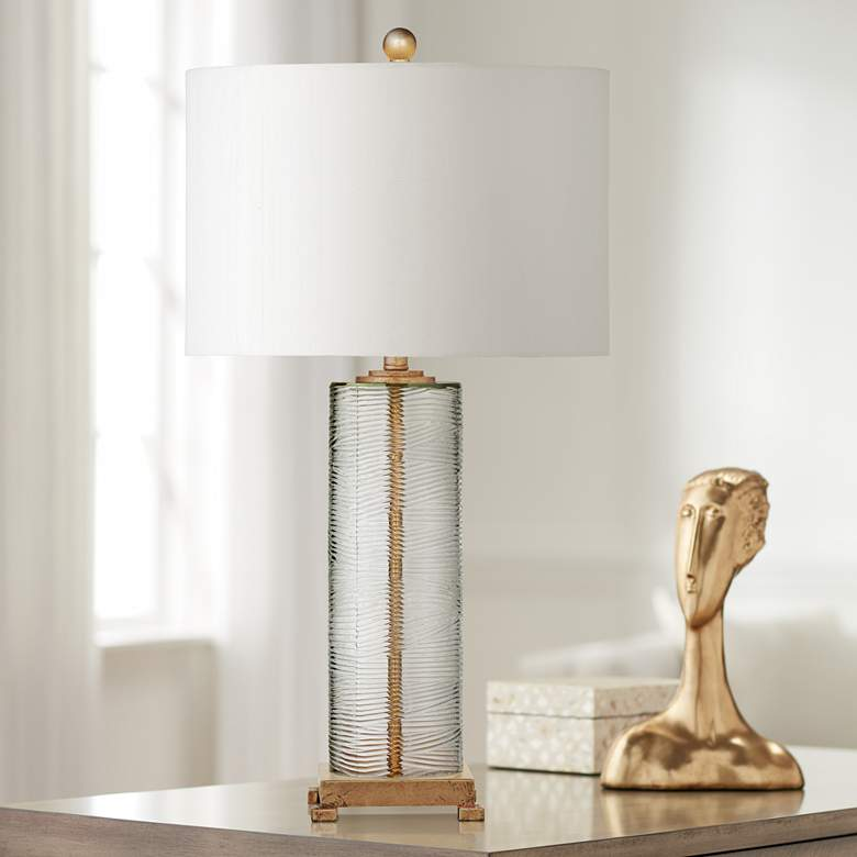 Maroa Clear Ribbed Glass and Gold Leaf Column LED Table Lamp