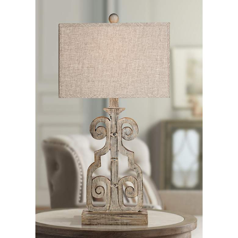 Belgian Luxe Braylin Weathered Gray LED Table Lamp