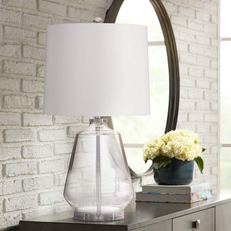 Adara Gray Clear Glass Fillable LED Table Lamp
