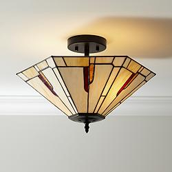 "Crowley 18"" Wide Bronze Tiffany Style Ceiling Light"