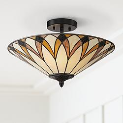 "Filton 18"" Wide Yellow Tiffany Style Ceiling Light"