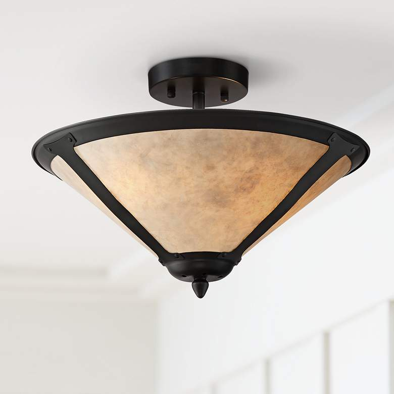 "Leiston 17"" Wide Natural Mica Shade Ceiling Light"