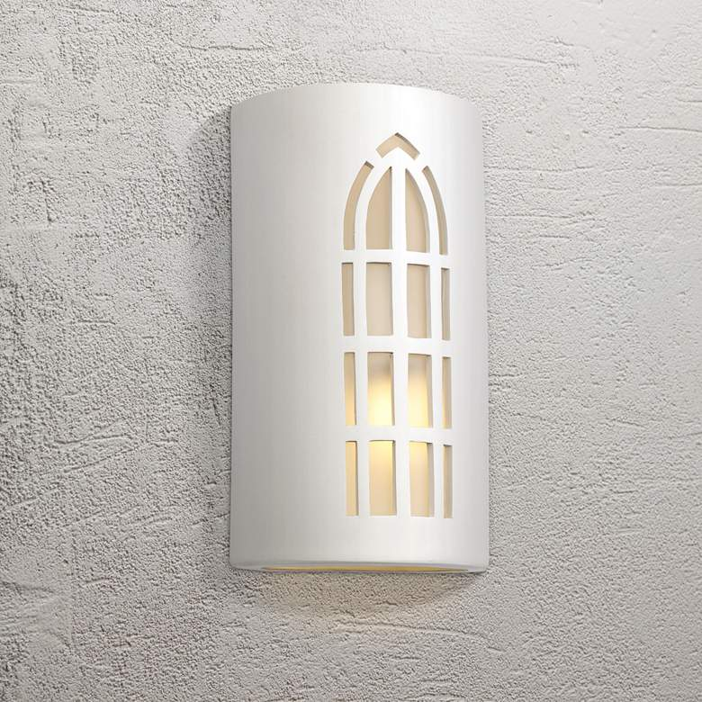 "Vestry 13"" High Paintable White Bisque Outdoor Wall Light"