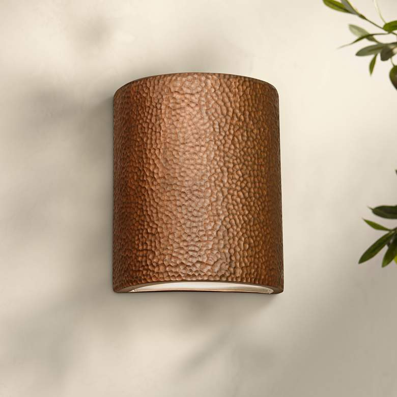"Hammerman 10"" High Rubbed Copper Ceramic Outdoor Wall"