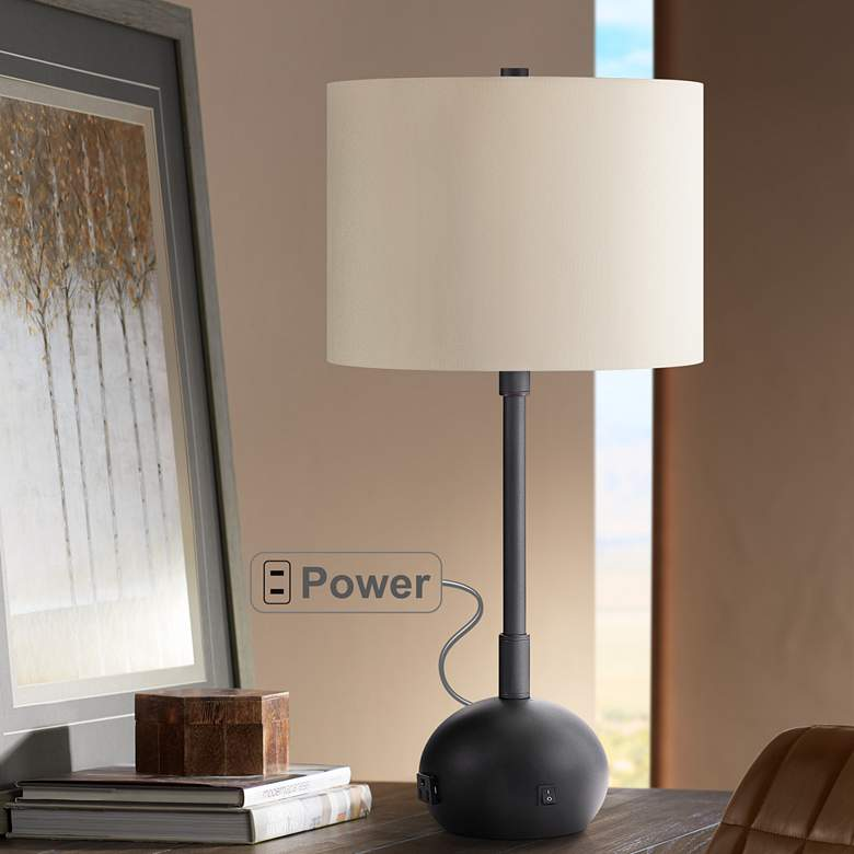 Lola Oil-Rubbed Bronze Table Lamp with Base Utility Plug