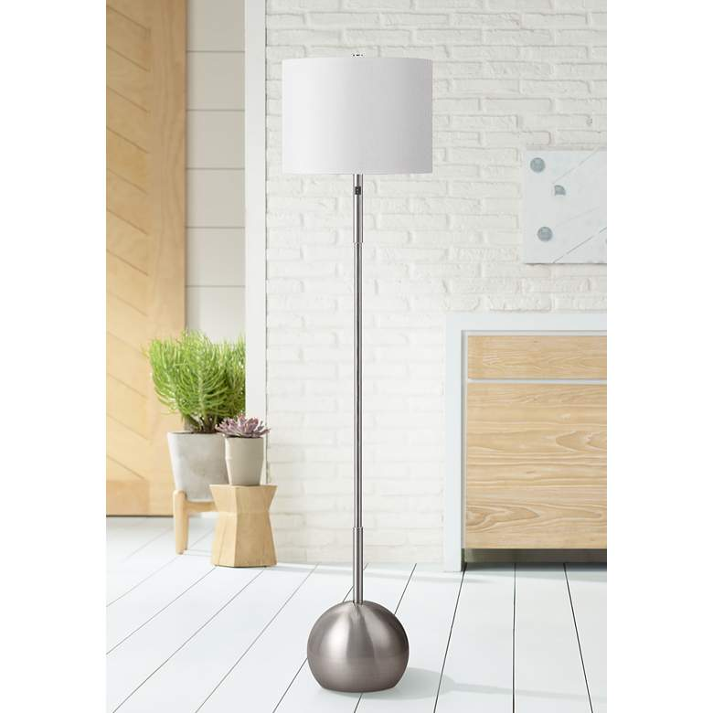 Burress Brushed Nickel Column Floor Lamp with Dome