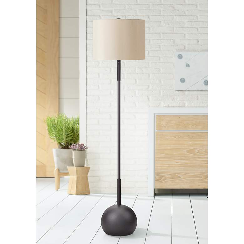 Burress Oil-Rubbed Bronze Column Floor Lamp with Dome