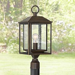 "Califa 21 1/2"" High Bronze Textured Glass Outdoor Post Light"
