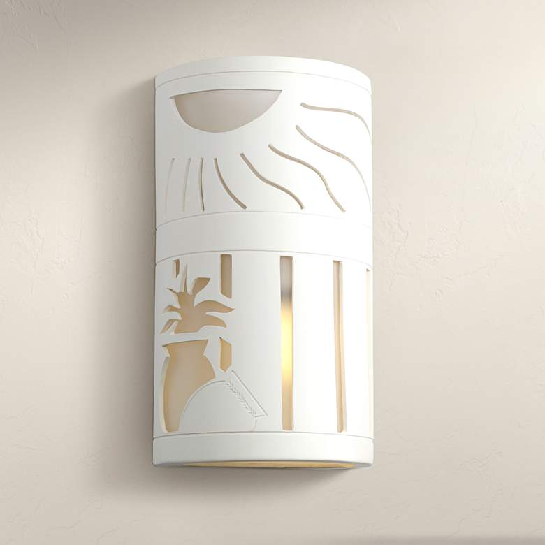 "Asavva 13"" High Paintable White Bisque Outdoor Wall Light"