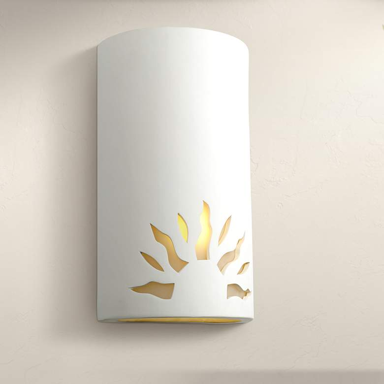 "Asavva 13""H Paintable White Bisque Sun Outdoor Wall"