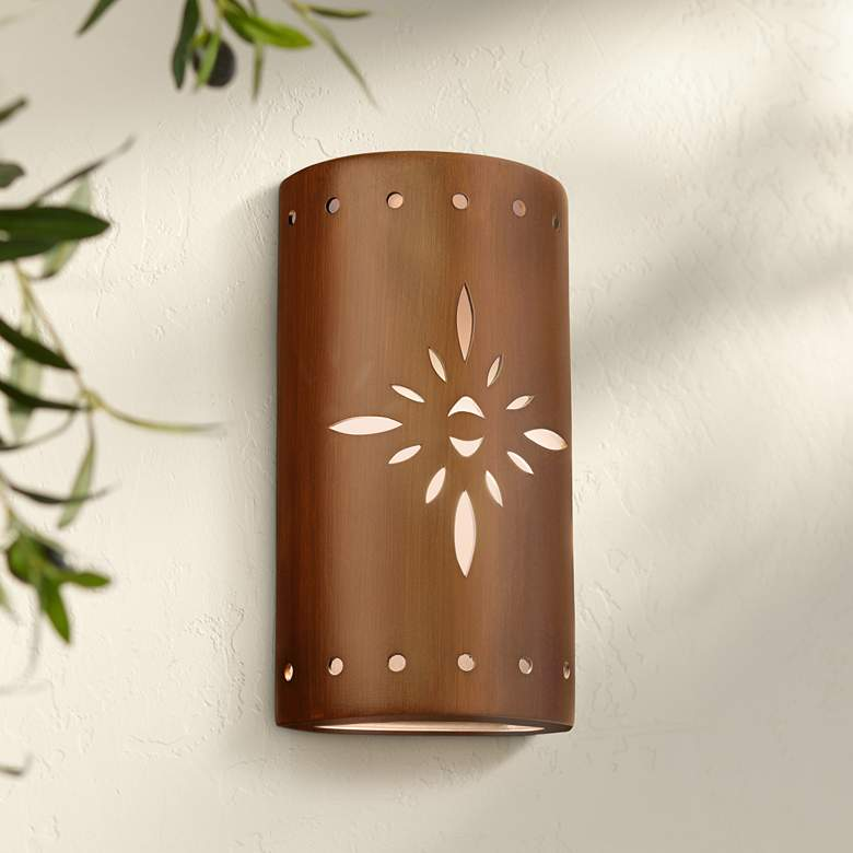"Asavva 17"" High Rubbed Copper Ceramic Outdoor Wall"