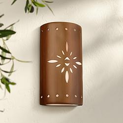 "Asavva 17"" High Rubbed Copper Ceramic Outdoor Wall Light"