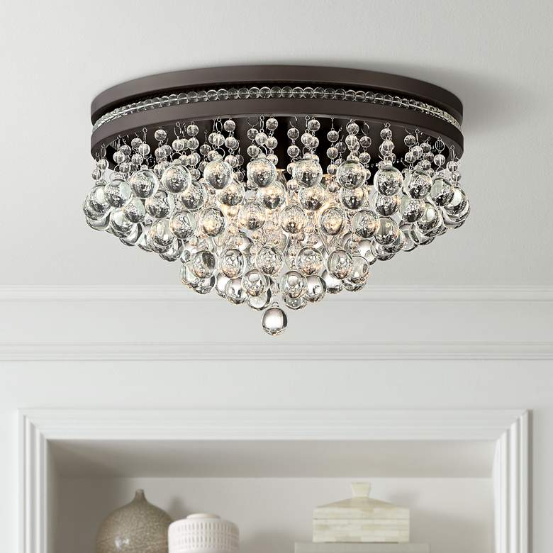 "Regina Bronze 15 1/4"" Wide Crystal Ceiling Light"