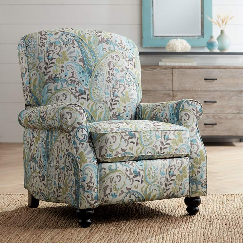 Ethel Skye Blue Paisley Push Back Recliner Chair