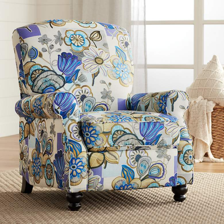 Ethel Indigo Floral Push Back Recliner Chair