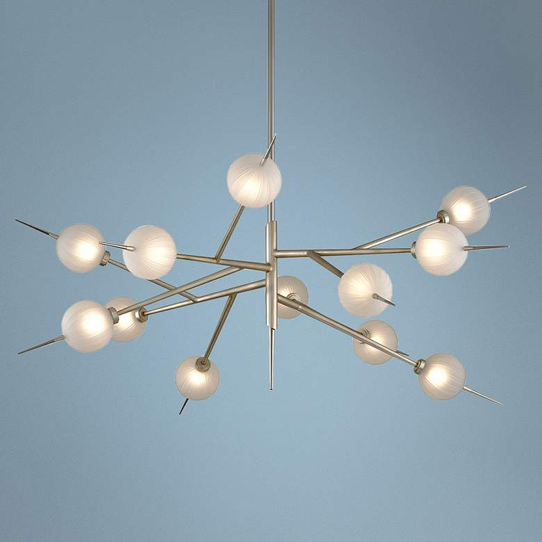 "Tempest 56"" Wide Satin Silver Leaf 12-Light LED Chandelier"