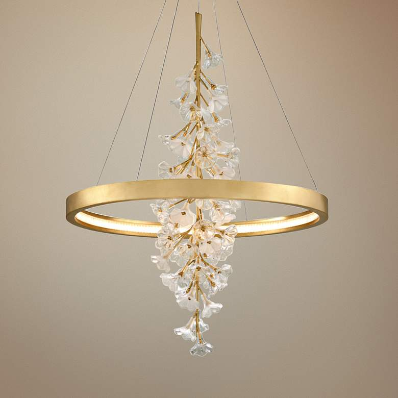 "Corbett Jasmine 36"" Wide Gold Leaf LED Floral Pendant Light"