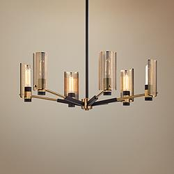"Pilsen 30""W Modern Bronze and Aged Brass 6-Light Chandelier"