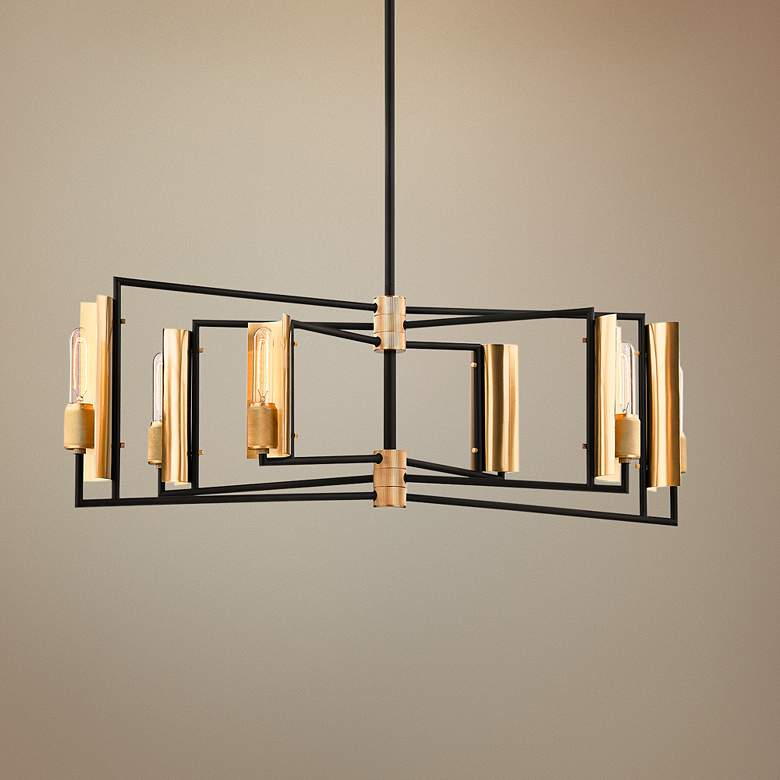 "Emerson 37"" Wide Black and Brass 6-Light Island"