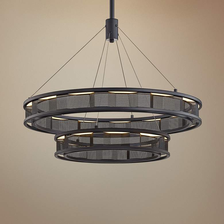 "Fuze 29"" Wide Modern Bronze 2-Tier LED Pendant"