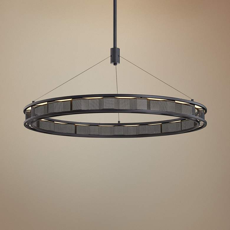 "Fuze 39"" Wide Modern Bronze LED Pendant Light"