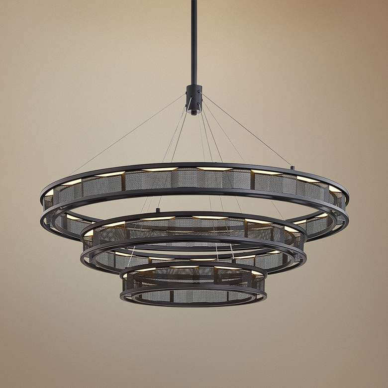 "Fuze 39"" Wide Modern Bronze 3-Tier LED Pendant"