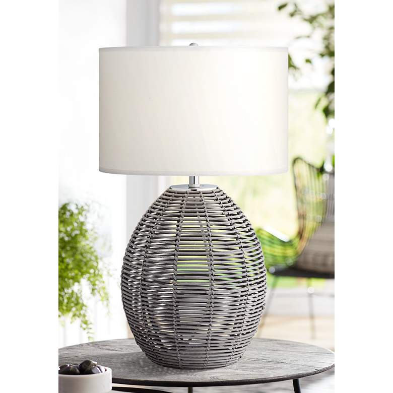 Waikiki Cool Gray Rattan Basket Table Lamp