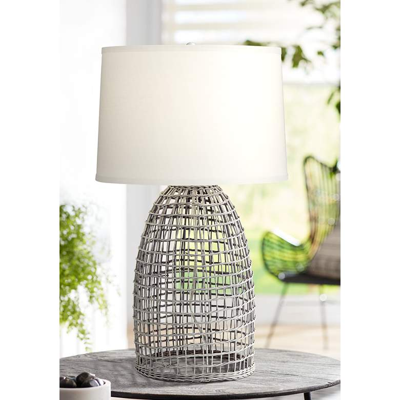 Oahu Cool Gray Rattan Basket Table Lamp