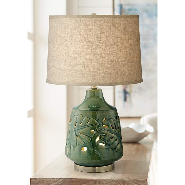 Green Leaves Glaze Ceramic Table Lamp with Nightlight
