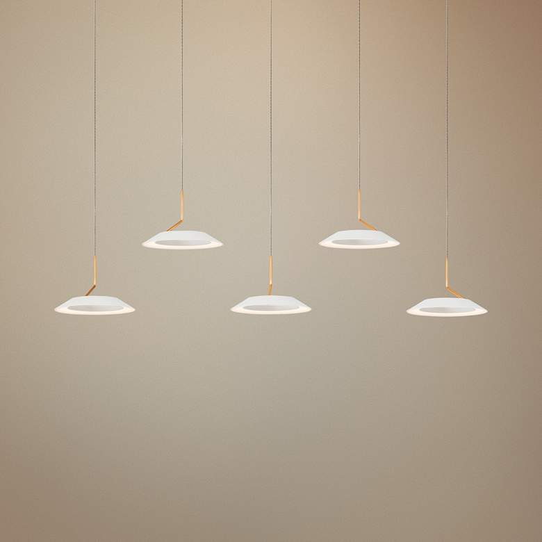 "Royyo 44""W Matte White and Gold 5-Light Linear Pendant"