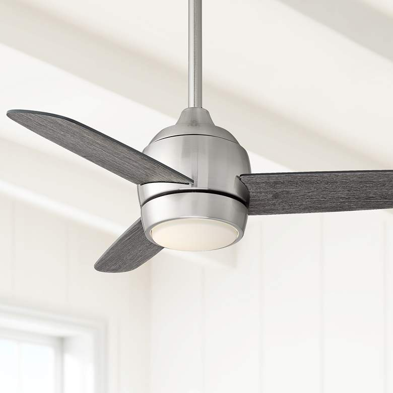 "36"" Chalet Brushed Nickel and Gray Wood LED Ceiling Fan"