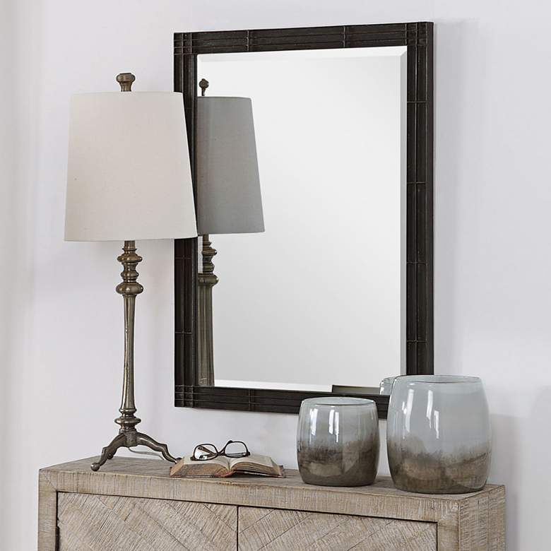 "Uttermost Gower Rustic Black 25 1/4"" x 34 3/4"" Vanity Mirror"