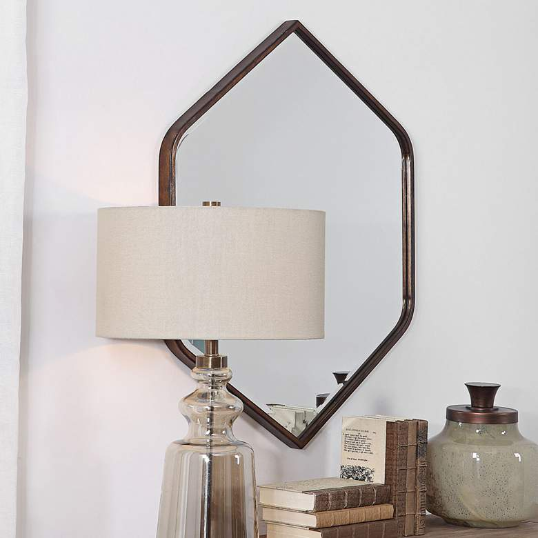 "Uttermost Magda Bronze 30 1/4"" x 36"" Hexagon Wall Mirror"