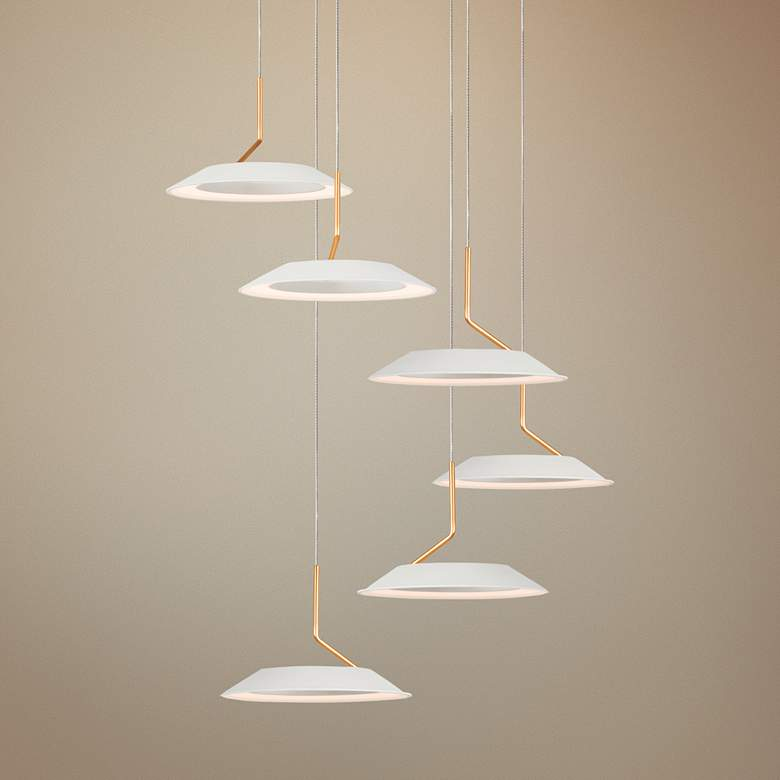 "Koncept Royyo 12""W Matte White and Gold 6-Light Mini Pendant"