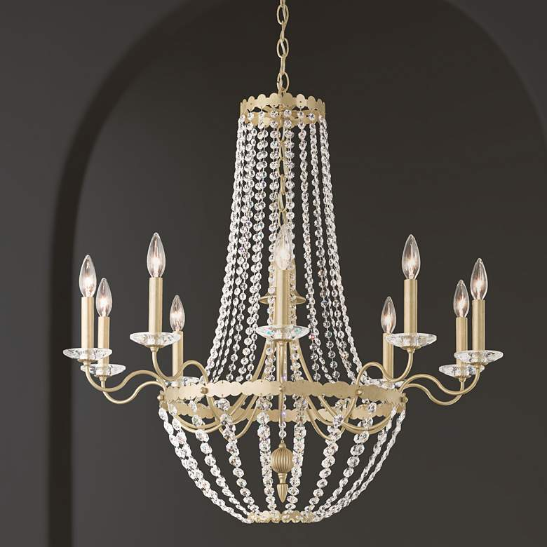 Early American 33 Wide Crystal 10-Light Chandelier