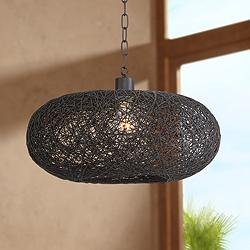 "Cumulus 17 1/2"" Wide Black Paper String Shade Swag Pendant"