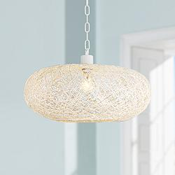 "Cumulus 18"" Wide White Paper String Shade Swag Pendant Light"
