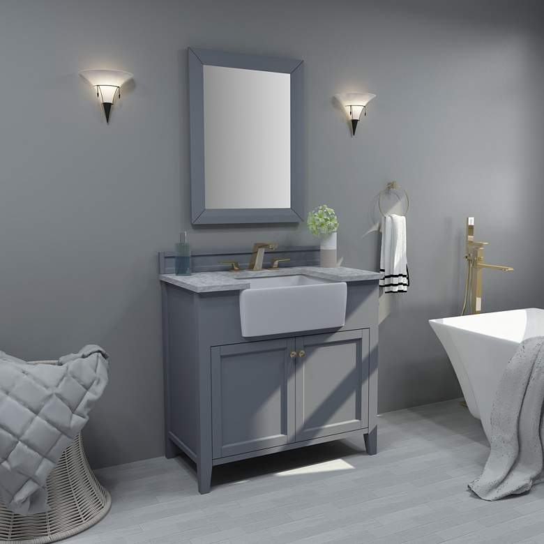 "Adeline Sapphire Gray 36""W White Marble Single Sink"