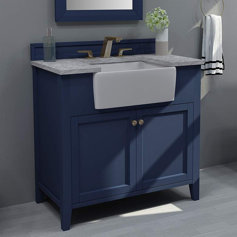 "Adeline Heritage Blue 36""W White Marble Single Sink Vanity"