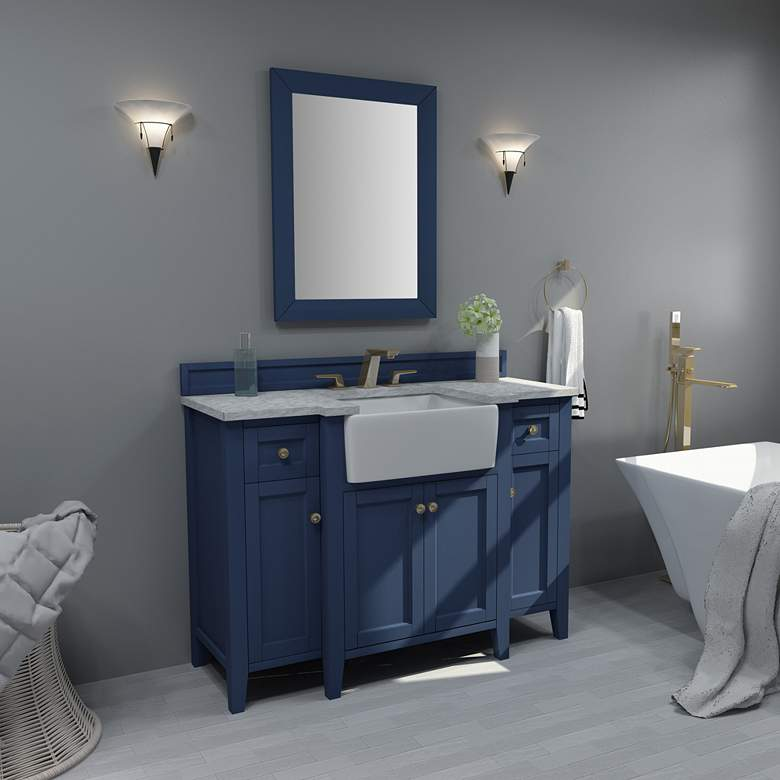 "Adeline Heritage Blue 48""W White Marble Single Sink"