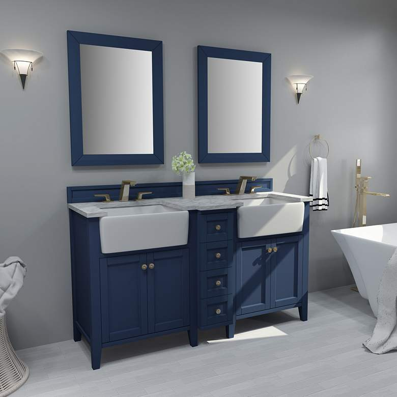 "Adeline Heritage Blue 60""W White Marble Double Sink"
