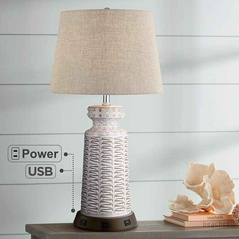 Helene White Ceramic Table Lamp with USB Workstation