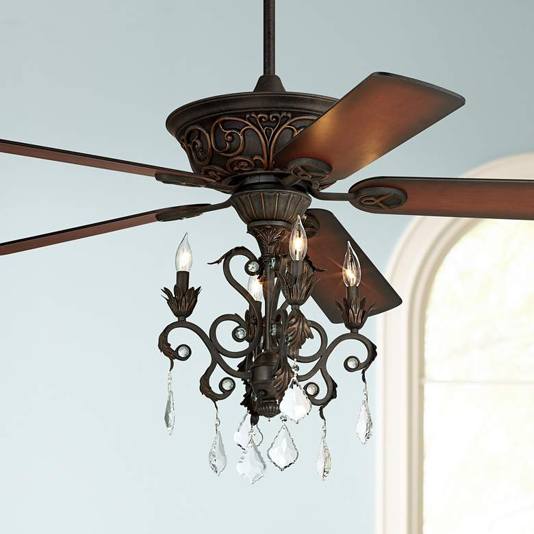 52 Quot Casa Contessa Dark Bronze Chandelier Led Ceiling Fan 68w92 Lamps Plus