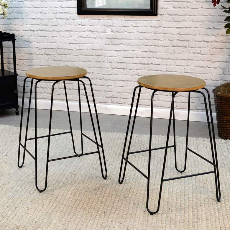 "Ethan 24"" Maple Wood and Black Counter Stools"