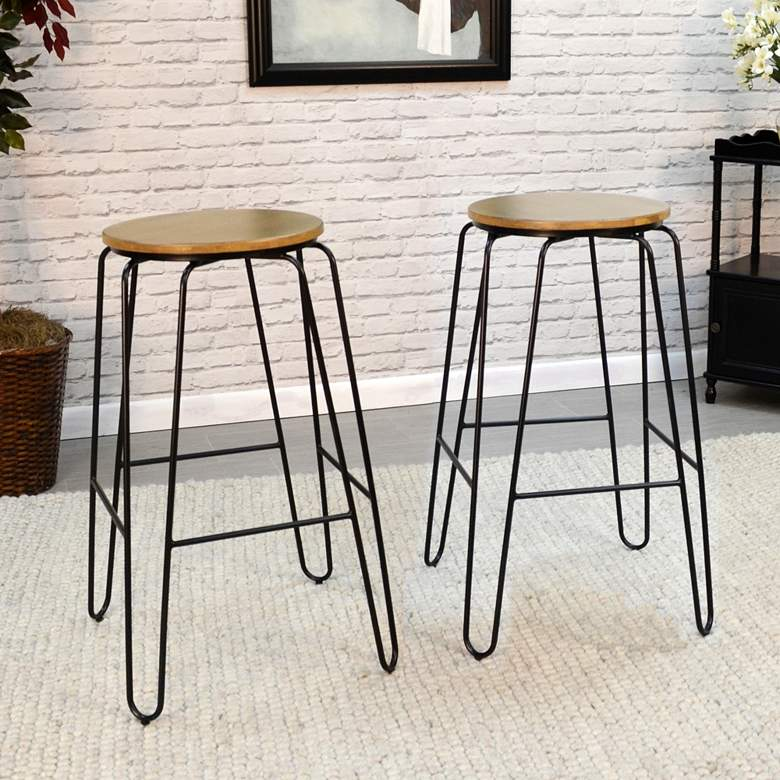 "Ethan 29"" Maple Black Wood Bar Stools Set"