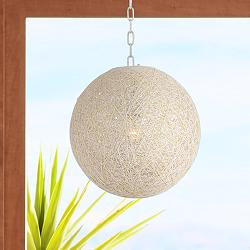 "Seneca 15 3/4"" Wide White Paper String Shade Swag Pendant"